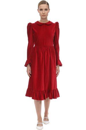 BATSHEVA Ruffled Velvet Midi Dress