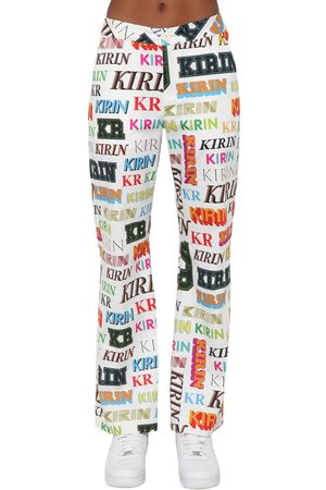 Kirin Logo Printed Drill Wide Leg Pants
