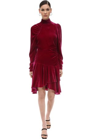 ROTATE Kvinder Festkjoler - Draped Velvet Mini Dress