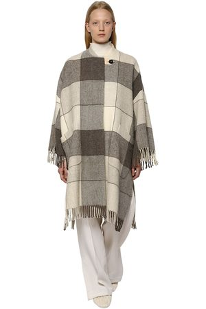 Jil Sander Check Wool Cape Coat W/ Fringes