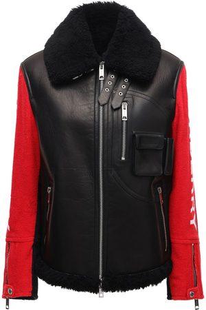 Burberry Bicolor Leather Biker Jacket