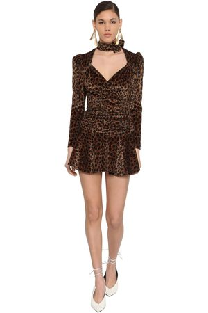 The Attico Print Stretch Velvet Mini Dress