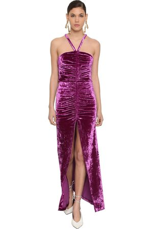 The Attico Stretch Velvet Gathered Long Dress