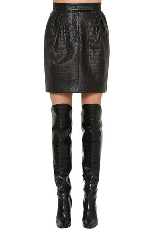 Max Mara Croc Embossed Leather Mini Skirt