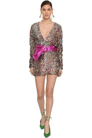 The Attico Long Sleeve Sequined Mini Dress