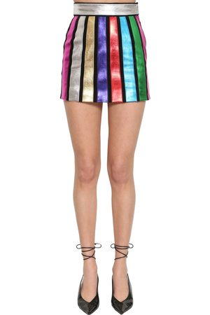 The Attico Striped Lamé Leather Mini Skirt