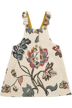 Oscar de la Renta Floral Cashmere Jacquard Overall Dress