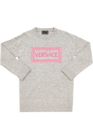 VERSACE Logo Embroidered Wool Blend Knit Dress