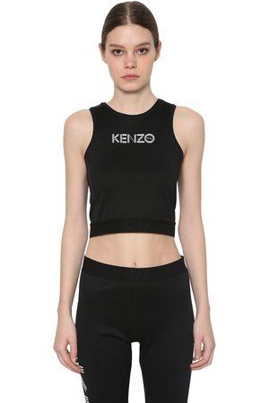 Kenzo Logo Print Stretch Cotton Cropped Top