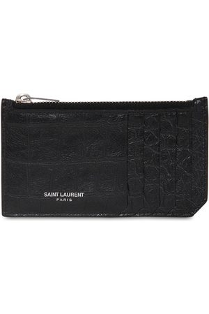 Saint Laurent Leather Zip Card Holder