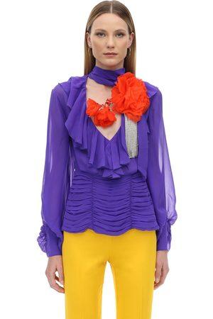 MARIANNA SENCHINA Ruffled Silk Shirt W/ Flower Crystal