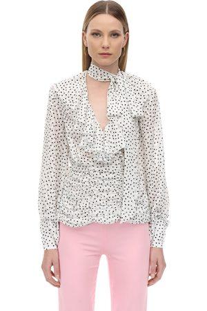 MARIANNA SENCHINA Ruffled Polka Dot Chiffon Shirt