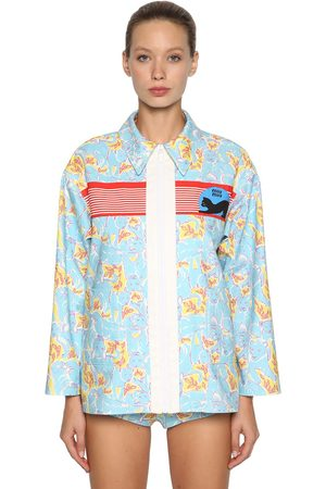 Miu Miu Printed Denim Zip-up Jacket
