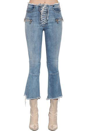 UNRAVEL Lace-up Flared Cotton Denim Jeans