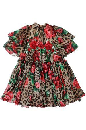 Dolce & Gabbana Rose & Leopard Print Silk Chiffon Dress