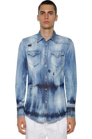 Dsquared2 Western Bleached Cotton Denim Shirt