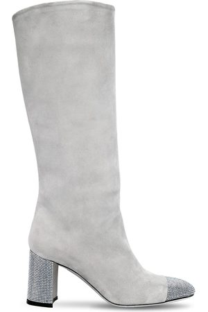 RENÉ CAOVILLA Kvinder Støvler - 75mm Suede & Swarovski Tall Boots