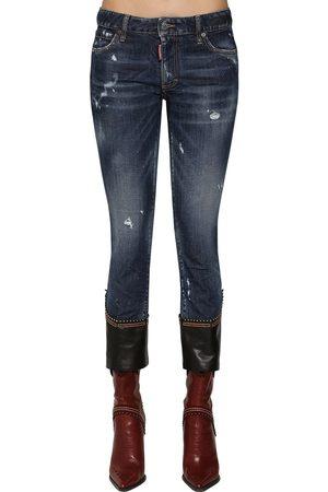 Dsquared2 Kvinder Skinny - Skinny Crop Jeans W/ Leather Hem