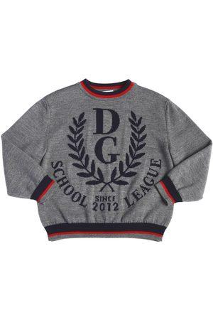 Dolce & Gabbana Logo Intarsia Wool Knit Sweater
