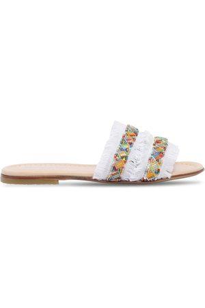 ERMANNO SCERVINO JUNIOR Embellished Denim Slide Sandals