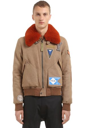 YVES SALOMON Wool Blend Bomber Jacket W/ Fur Collar