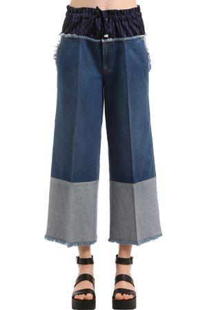 Sonia by Sonia Rykiel Cropped Denim Jeans W/ Boxer Waist
