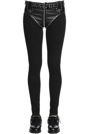 1017 ALYX 9SM Slim Studded Faux Leather & Denim Jeans