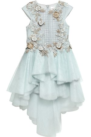 MISCHKA AOKI Floral Embellished Tulle Party Dress