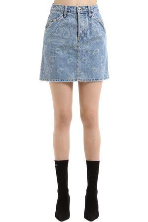 JONATHAN SIMKHAI Bandana Printed Denim Mini Skirt