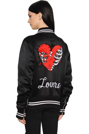 AMIRI Lovers Embroidered Satin Bomber Jacket