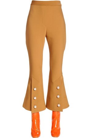 Ellery Flared Cool Wool Pants W/ Buttons