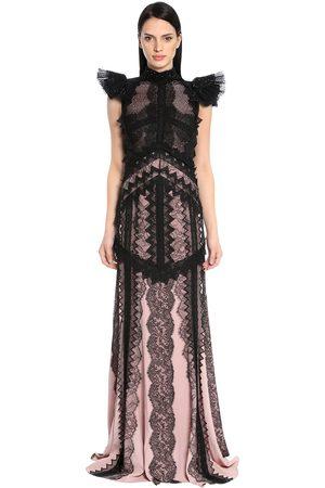 ANTONIO BERARDI Embroidered Chiffon & Envers Satin Gown