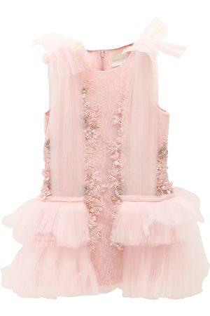 MISCHKA AOKI Silk Organza & Lace Party Dress