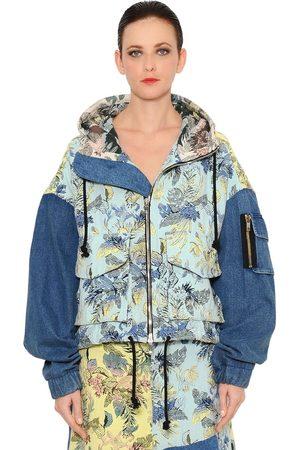 Marna Ro Brocade & Denim Patchwork Bomber Jacket
