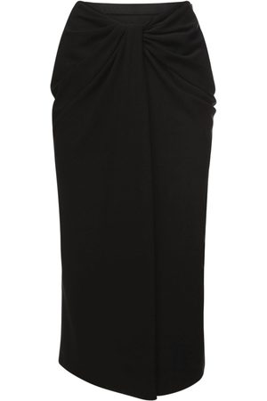 VALENTINO Knot Draping Stretch Silk Cady Skirt