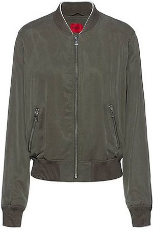 HUGO BOSS Relaxed-fit blouson jacket with embroidered Japanese cranes