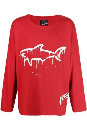 GREG LAUREN Langærmet T-shirt med hajtryk