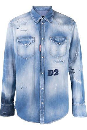 Dsquared2 Mænd Denim - Denimskjorte med slitageeffekt
