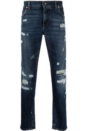 Dolce & Gabbana Ribbede jeans med smal pasform med præget logo