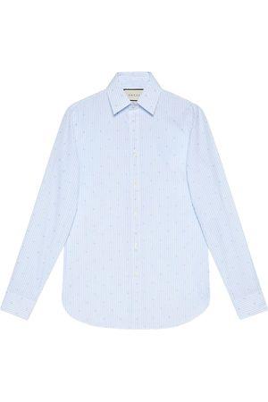 Gucci Mænd Langærmede - Stribet skjorte med firkantet G og fil-coupé