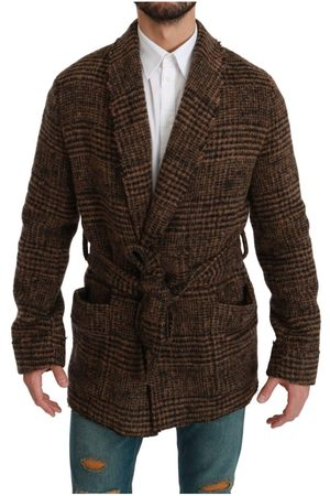 Dolce & Gabbana Checkered Wool Robe Coat Wrap Jacket