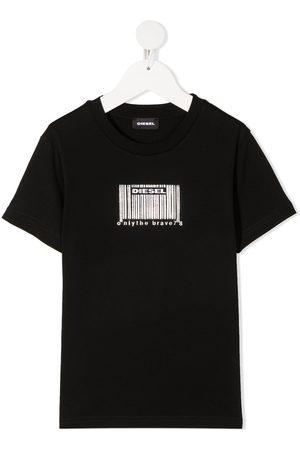 Diesel T-shirt med stregkode-logotryk