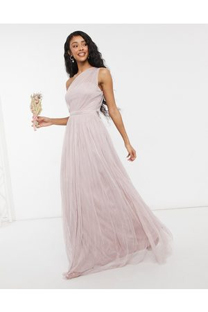 ANAYA With Love Bridesmaid - Pink maxikjole i tyl med oneshoulder-Lyserød