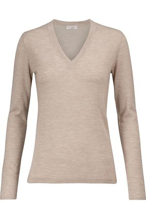 Brunello Cucinelli V-neck cashmere and silk sweater