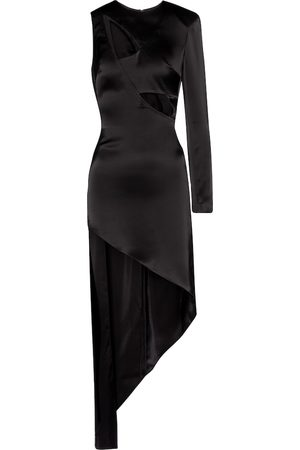 DAVID KOMA Cut-out asymmetric satin minidress