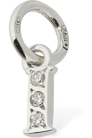 "Dodo 18kt White Gold ""i"" Charm W/ Diamond"