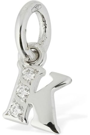 "Dodo 18kt White Gold ""k"" Charm W/ Diamond"