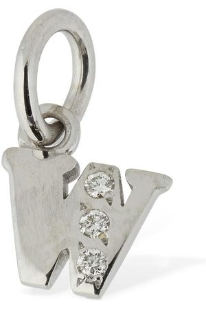 """Dodo 18kt White Gold """"w"""" Charm W/ Diamond"""