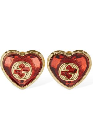 Gucci Interlocking G & Crystal Heart Earrings