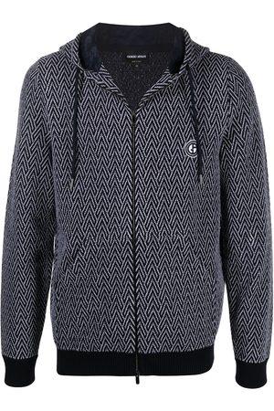 Armani Chevron-mønstret hættetrøje med logotryk